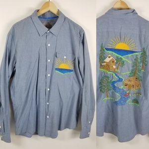 Toddland embroidered chambray button up shirt L